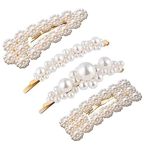 AllRing Eleganz Weiße Perlen Dekor Haarspangen Kit Braut Haarspangen für Frauen Mädchen (Style 1)
