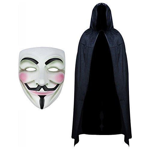 Robelli V for Vendetta Maske & Kapuzen SAMT Umhang Modisches Kostüm-Set