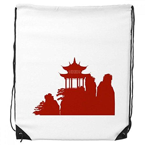 DIYthinker China-Pavillon Berg Kultur Silhouette Illustration Muster-Rucksack Einkaufssporttaschen Geschenk
