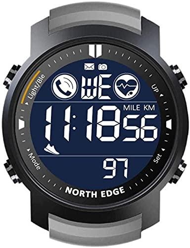 Reloj Inteligente Hombres Frecuencia Cardíaca Monitor Impermeable 50M Natación Correr Deportes Podómetro Cronómetro Smartwatch Android IOS Negro-Gris