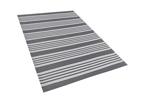 Rechteckiger Outdoor-Teppich mit Streifenmuster in Grau 120x180 cm Delhi