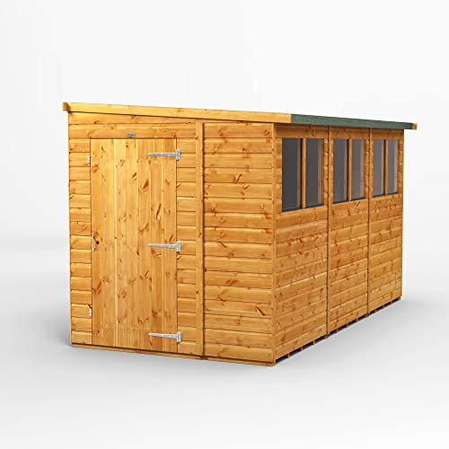 POWER Sheds 12 x 6 reverse lean to wooden shed. 12x6 pent wooden garden shed.