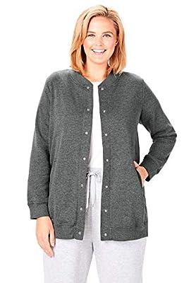 Woman Within Women's Plus Size Fleece Baseball Jacket - 5X, Medium Heather Grey