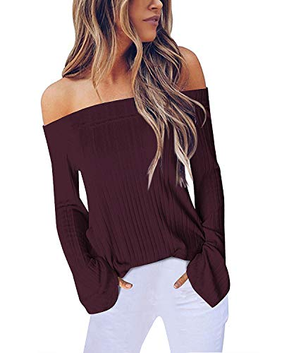 ACHIOOWA Mujer Suéter de Camisetas Manga Larga Tops de Hombros Descubiertos Sexy Otoño Invierno Camisas Moda Blusas Nuevo 999418-Rojo XXL