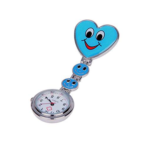 SODIAL(R) Corazon Azul Cuarzo Movimiento Clip Broche de Enfermera Fob Tunica Reloj Cara Sonrisa