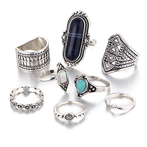 8 anillos bohemios con diamantes incrustados de anillo retro para uso diario.