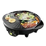 Parrilla eléctrica y BBQ Hot BBQ Shabu SHABU Pot Non-Palo Tablero sin Humo Grill para Party Hogar al Aire Libre para Interiores, 1.6L, 1600W