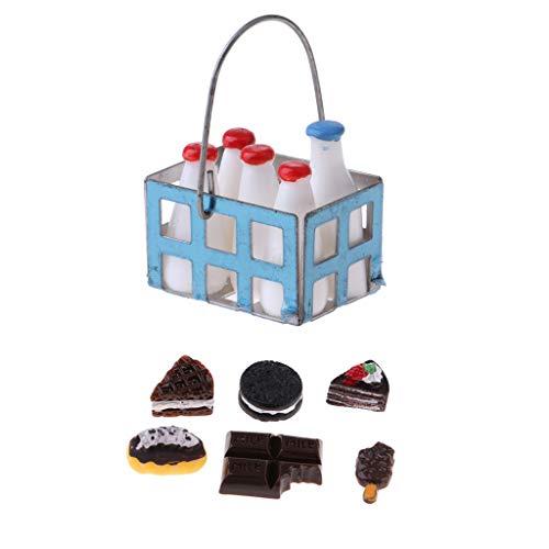 HomeDecTime 1/12 Dollhouse Miniatura Botellas de Leche Cesta de Metal Y Pastel de