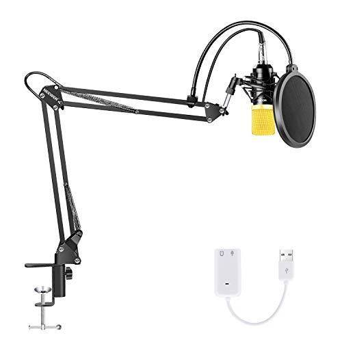 Neewer Kit di Microfono a Condensatore, NW-700 Professionale da Studio Supporto Regolabile con Braccio a Forbice Supporto Ammortizzato Filtro di Pop Scheda Audio USB per Registrazione in Studio