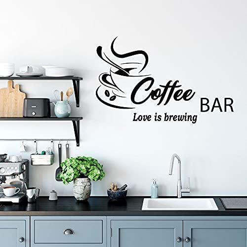 F FANTASY 'ART Calcomanía de pared para barra de café con texto en inglés «Love is Brewing» para decoración de bar, bar, café, bar, bar, decoración de pared, 89 x 57 cm