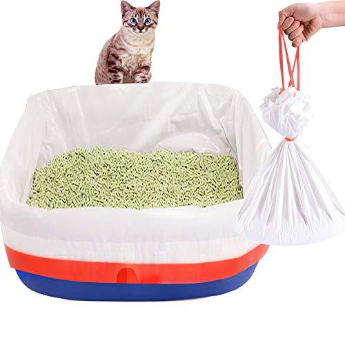 LUFFWELL Katzentoiletteneinlagen, 20 Stück Einweg-Jumbo-Katzentoilettenbeutel, extra riesige, elastische Katzen-Einlagen für Katzentoilette, langlebig, groß, strapazierfähige Katzenklo