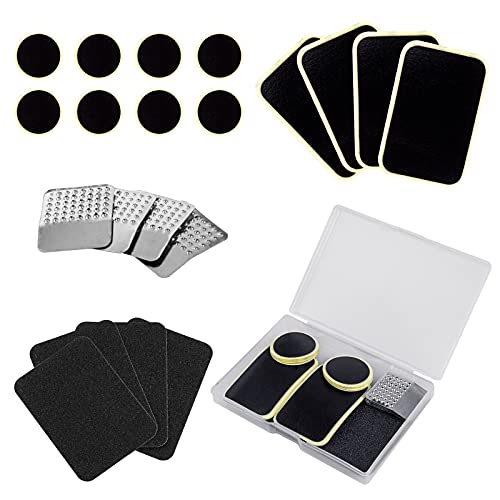 KOAREL Bike Tire Pre-glued Patch Puncture Repair Kit - Bicycle Inner Tube Rubber Glueless Self-Adhesive Patches with Metal Rasps,Sandpaper Box for Cycling,Motorcycle,BMX,ATVs,Inflatable Rubber