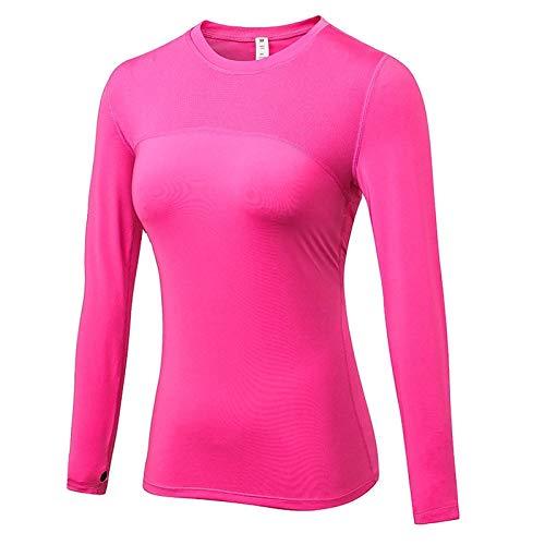 WWLIN Camisetas Deportivas Sexis con Estampado de Letras para Mujer, Camisetas de Manga Larga Transpirables de Color sólido de Alta Elasticidad para Gimnasio y Yoga