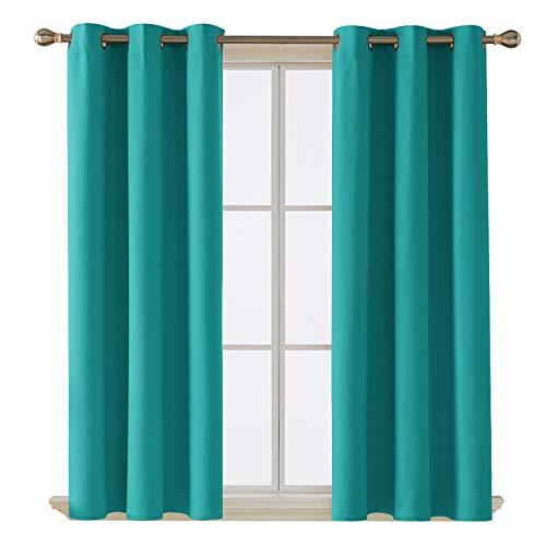 Deconovo Room Darkening Thermal Insulated Blackout Grommet Window Curtain Panel for Living Room, Turquoise,42x63-Inch,1 Panel