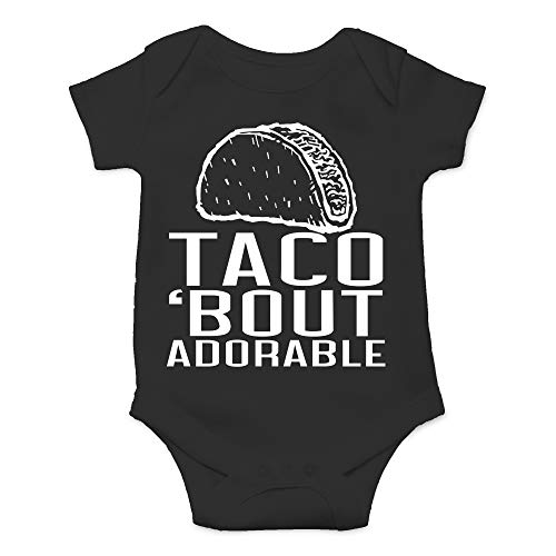 Taco Bout Adorable - Mono de algodón para bebé unisex con parodia de comida mexicana, Negro, recién nacido