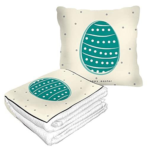 Manta de viaje con diseño de lunares de Pascua verde en bolsa suave, fundas de almohada para caza de huevos de gallina, líneas florales, manta cálida de primavera, cojín para casa, coche, oficina