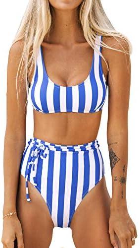CUPSHE Women s High Waisted Stripe Belt Wide Straps Bikini Swimsuit Sets XS product image