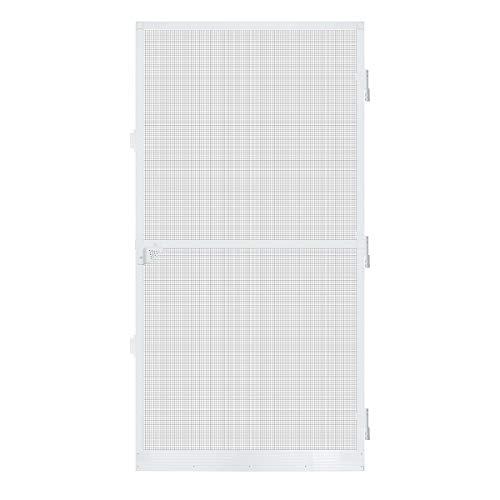 Sekey Puerta Mosquitera con Malla de Fibra de Vidrio y Marco de Aluminio, Resistente a la Intemperie, 100 x 210 cm, Marco Blanco
