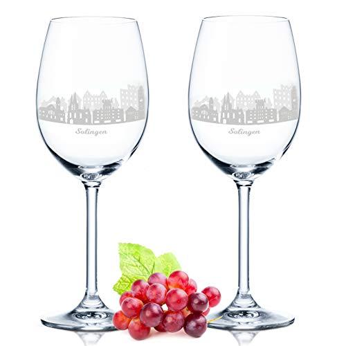 Leonardo Weinglas mit Gravur - Solingen Geschenk im 2er Set - Weingeschenk - Souvenir Andenken und Mitbringsel - Geburtstagsgeschenk für Sie und Ihn