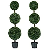 MY LUNA HOME 4ft Topiary Trees Artificial Outdoor 2 Pack Triple Ball Boxwood for Home and Office Decor- Fake Tree for Use as Front Porch Decorations or Indoor Shrubbery- Faux Plant UV Resistant