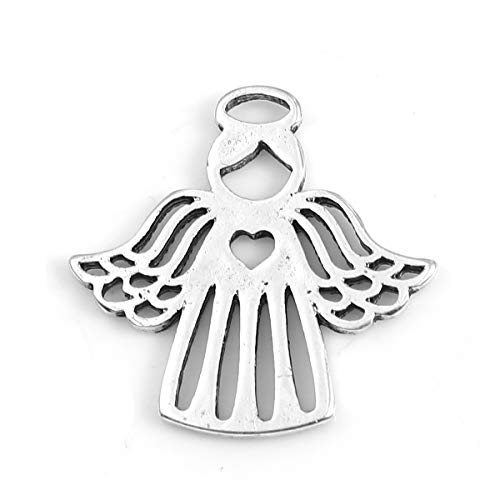 Angel Charm Pendants, 20 Pack Silver Tone About 1 Inch, Religious Jewelry or Scrapbooking Arts and Crafts (Flying Wings)