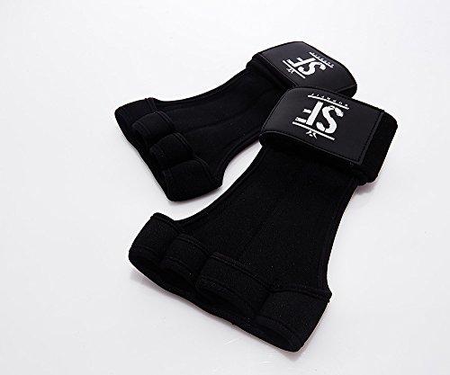 Suprfit Gymnastic WOD Grips | Gymnastik Handschuh | Turn Riemchen | Hand Schutz | Crossfit Turnen Fitness | Mit Handgelenk Schutz | Leder Handfläche | Schwarz | XS-XL