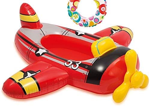 Aufblasbares Babyboot Kinderboot Schlauchboot Boot Pool-Cruiser Schwimmsitz Schwimmboot Wasserspielzeug Babysitz für Pool Wasser Bade-See Meer Motiv Flugzeug Auto Fisch (Flugzeug)