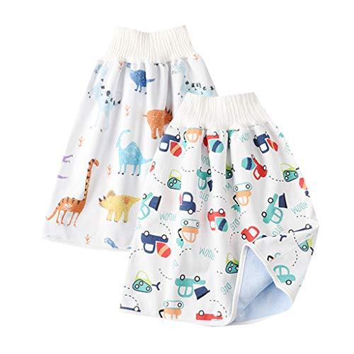 2 unids 2 en 1 cómodo bebé pañal falda impermeable de dibujos animados de cintura alta pañales pantalones cortos de los niños bebé entrenamiento falda pañal falda