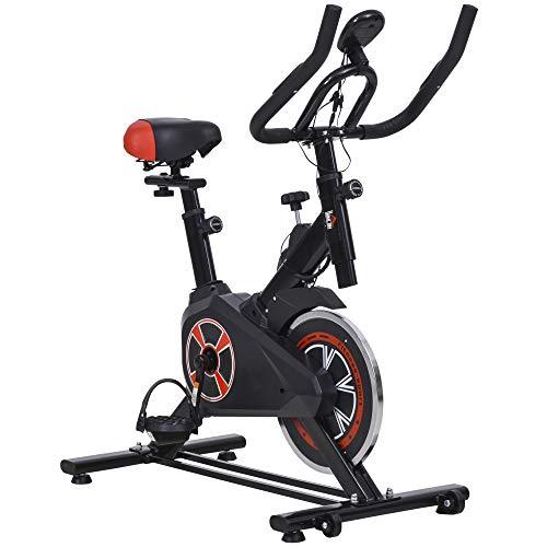 HOMCOM Vélo d'appartement Cardio vélo Biking écran LCD Multifonction Selle et Guidon réglable Volant inertie 5 Kg...
