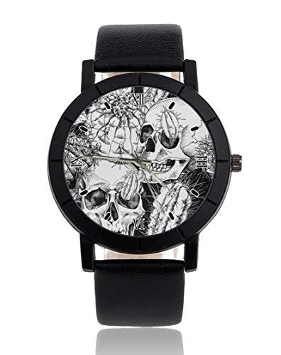 Kaktus-Totenkopf-Armbanduhr, personalisierbar, leger, schwarzes Lederband, Armbanduhr für Männer und Frauen, Unisex Uhren