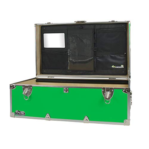 C&N Footlockers Happy Camper Trunk with LidMate Organizer - Camping Storage Chest - Durable with Lid Stay - 32 x 18 x 135 Inches Lime Green