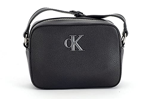 Calvin Klein Minimal Monogram Camera Bag, Crossovers para Mujer, Black, Medium