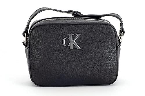 Calvin Klein Minimal Monogram Camera Bag, Crossover Donna, Nero, Medium