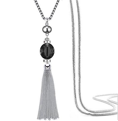 Fashion HW Collar largo con colgante de cadena de suéter, con borlas y cristales transparentes, estilo bohemio para mujer, 81 cm + 5 cm