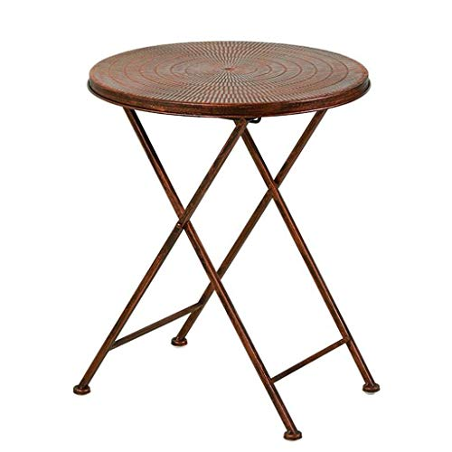 Iron Round Table Sofa Side Table Balkon Outdoor klaptafel over draagbare Snack Table (Size : 39 × 51CM)