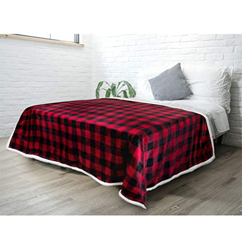 PAVILIA Buffalo Check Sherpa Blanket Throw Twin Size | Red Black Checkered Flannel Fleece Blanket | Christmas Plaid Warm Plush Microfiber Blanket for Couch Sofa | 60x80 Inches