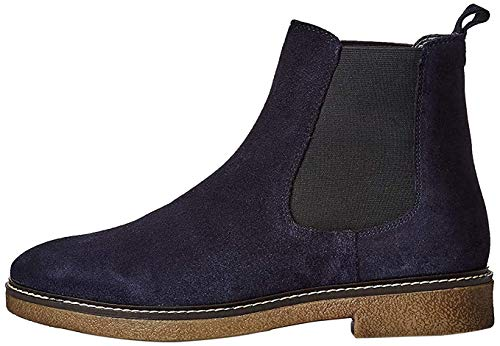 Marca Amazon - find. Leather Gumsole Botas Chelsea, Azul Navy, 36 EU