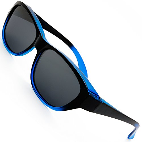 The Fresh HD Polarized Wrap Around Shield Sunglasses for Prescription Glasses Gift Box (5-Shiny Black/Navy Blue, Grey)