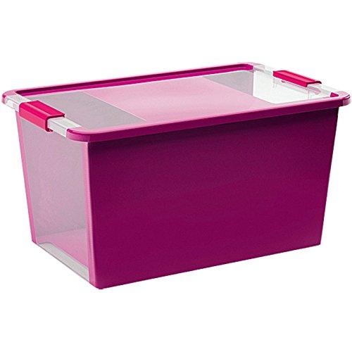 Kis 8454000 0129 01 Bi Box - Caja de Almacenamiento Plastico Morado/ Transparente, 40 L (55 x 35 x 28 cm)