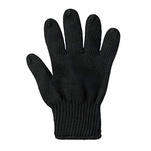 1 x Grillhandschuh, feuerfester Hitzehandschuh, Aramidfasern, Hitzeschutz, Ofenhandschuh oder Kaminhandschuh, schwarz