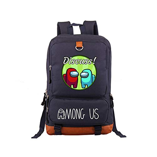 FUFU Among Us School Backpack Girls Boys Canvas School Bags Men'S Women'S Large Capacity Waterproof Backpack for School Trips Hiking Outdoor Shopping Gatherings Daily Use Zipper Durable/B