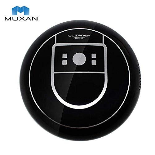 Muxan - Robot de aspiración ultrafino de 70 mm, aspirador más potente para limpieza de pelos, alfombras y suelos duros Negro