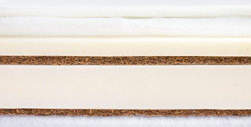 Colchón de espuma de coco para bebé, 120 x 60 cm, aloe vera (11 cm)