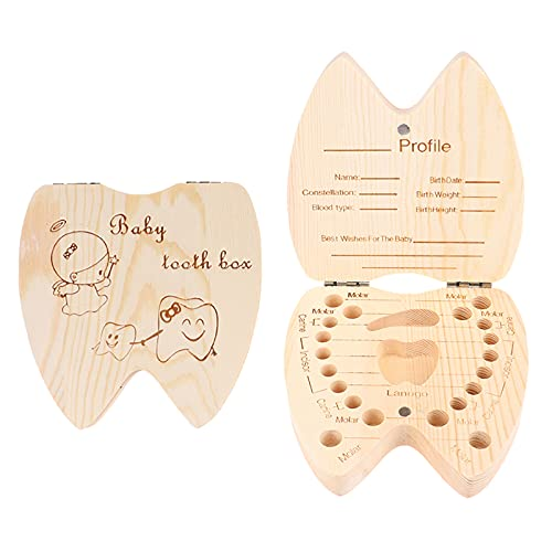 Olymajy caja de dientes, caja de dientes para niños,caja para guardar dientes de leche, Caja para guardar dientes para niños y niñas, Regalo para niños en madera de souvenir