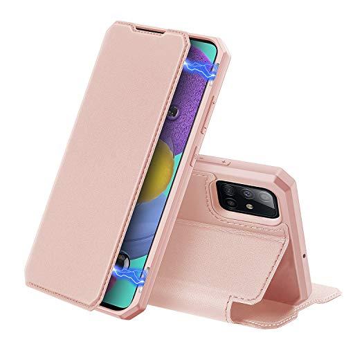 DUX DUCIS Hülle für Samsung Galaxy A51, Premium Leder Magnetic Closure Flip Schutzhülle handyhülle für Samsung Galaxy A51 Tasche (Rosa)