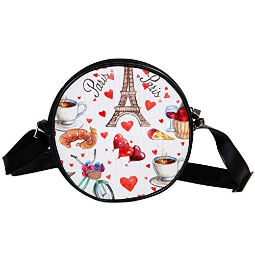 Bandolera redonda pequeña bolsa de mano de moda para mujer, bolsa de mensajero de lona, bolsa de cintura, accesorios para mujeres-París Torre Eiffel amor corazón té vino
