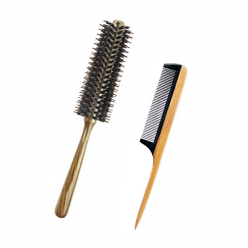 Boar Bristle Round Styling Hair Brush with Natural Wooden Handle - Fine Tooth Wooden Tail Comb - Sandalwood Comb with Black Buffalo Horn Teeth