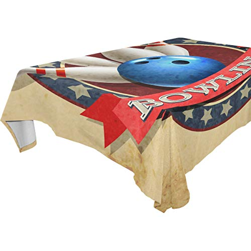 Hunihuni quadratische Tischdecke, Bowling-Kugel-Muster, Polyester-Tischdecke für Küche, Esszimmer, Party, Dekoration, Picknick, 137,2 x 137,2 cm, mehrfarbig, 60x90(in)