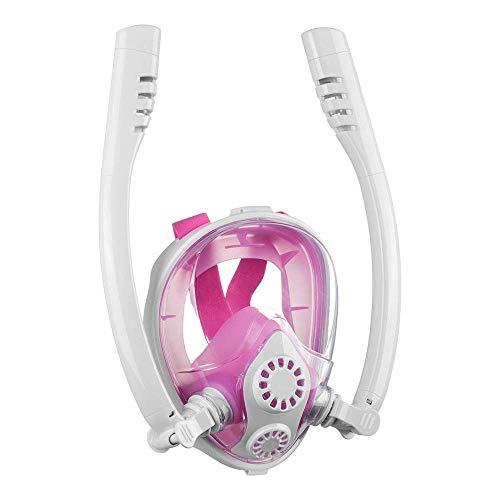 FFCVTDXIA Tauchen volle Gesichtsmaske, Faltbare Schnorchelmaske, doppeltes Atemsystem 180 Grad Erwachsene Kinder Schnorchelmaske, Blackblue, s/m zhihao (Color : Whitepowder, Size : L/XL)
