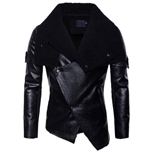 AoWOFS heren kunstlederen jas slim fit biker gevoerde lederen jas winter met bontkraag zwart